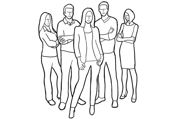 music band or co-workers in a project. If a group has a known leader, put him or her in front for even stronger composition.