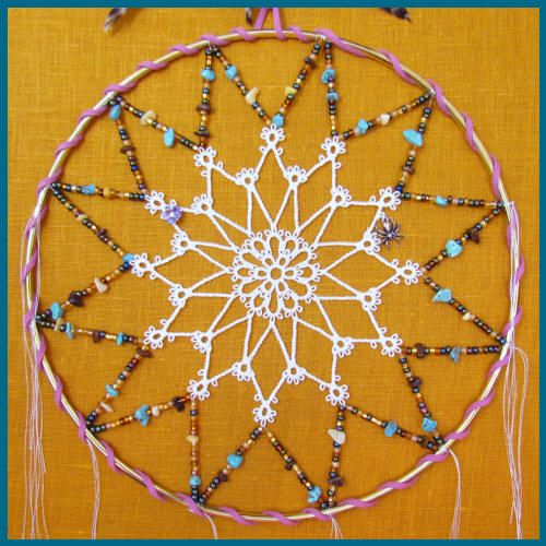 Free standing machine embroidery tatted dream catcher for How to make dreamcatcher designs