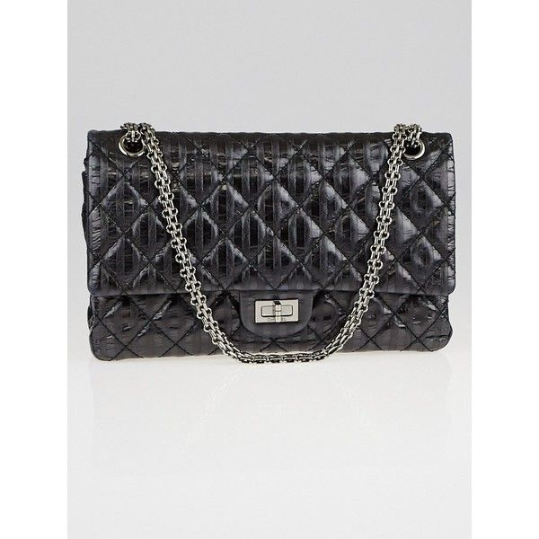 Pre-owned Chanel Black Metallic 2.55 Reissue Quilted Classic Striped... (9,780 ILS) ❤ liked on Polyvore featuring bags, handbags, leather handbags, real leather purses, metallic handbags, real leather handbags and leather flap bag