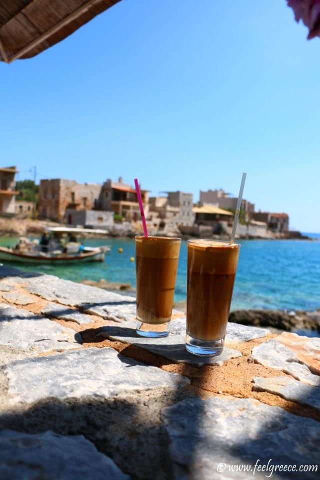 Frappe with sea view; photo from Gerolimenas, Mani Region