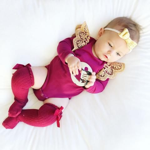 Wine Long Sleeve Bodysuit with Gold Wings