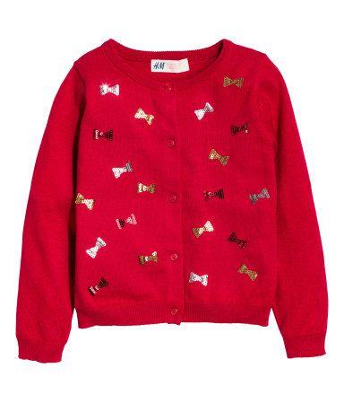 Katoenen vest met pailletten   Rood/strik   Kinderen   H&M NL