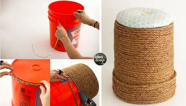 Riciclo creativo: Un secchio vuoto un po' di corda ed ecco il risultato… un bellissimo Pouf!