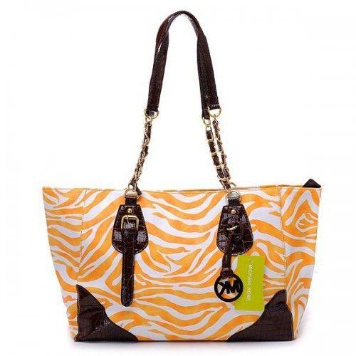 Michael Kors Zebra Chain Large Orange Shoulder Bags