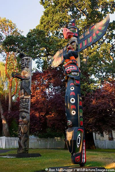 Totem Poles in Thunderbird Park, downtown Victoria, Vancouver Island, British Columbia, Canada