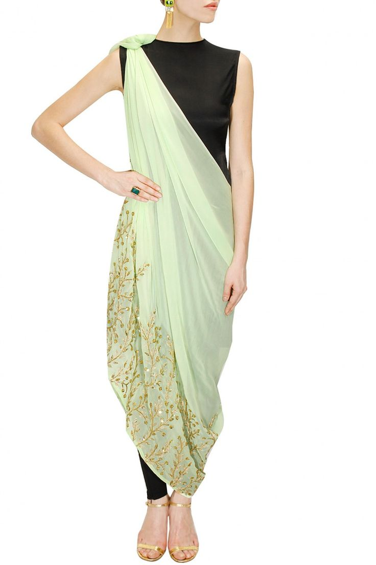 Mint green embroidered drape dress with black inner available only at Pernia's Pop-Up Shop.
