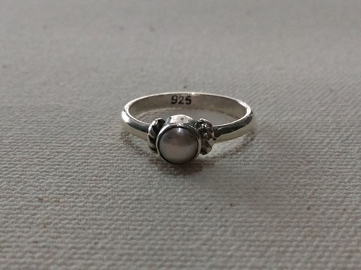 White Pearl Silver Ring, Handmade Sterling Silver, Wire Silver Ring, 925 Sterling Silver,Simple rings. by MoyokSilver on Etsy