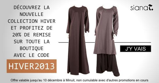 Remise de 20% avec le code HIVER2013 chez Sianat.fr