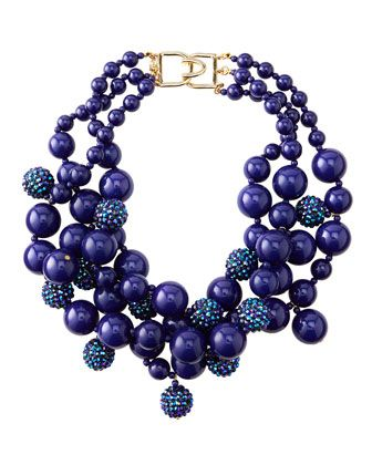 Pave Crystal Beaded Cluster Necklace, Blue by Kenneth Jay Lane at Neiman Marcus.