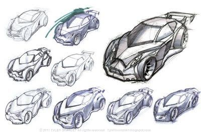 Designer 'Tyler Scarlet' art blog image. This is a concept development for the vehicle design . From the simplest idea sketch to the refined sketch they are all process to achieve the final design solution. Use of digital tool to create conceptual idea is easy to manage and modify when the change is needed