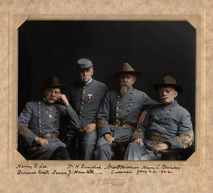four old Confederate veterans, taken in January 1922 on the occasion of the funeral of Captain Isaac J. Hamlett.