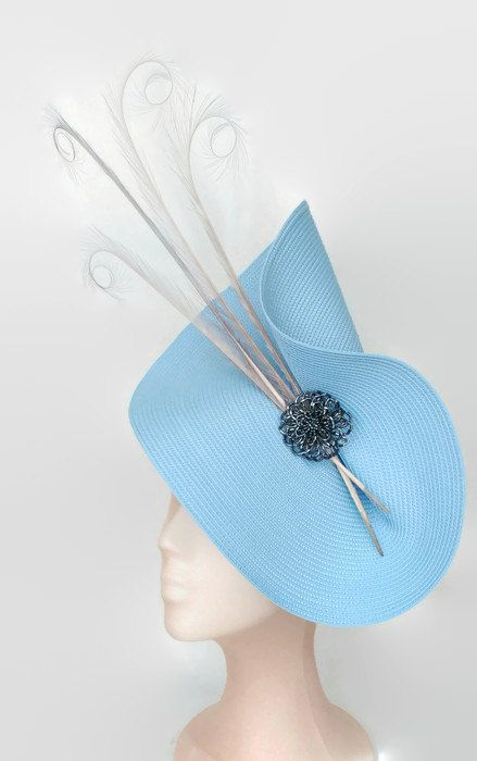 Pale blue fascinator, light blue hat, grey ascot hat, sky blue and grey…