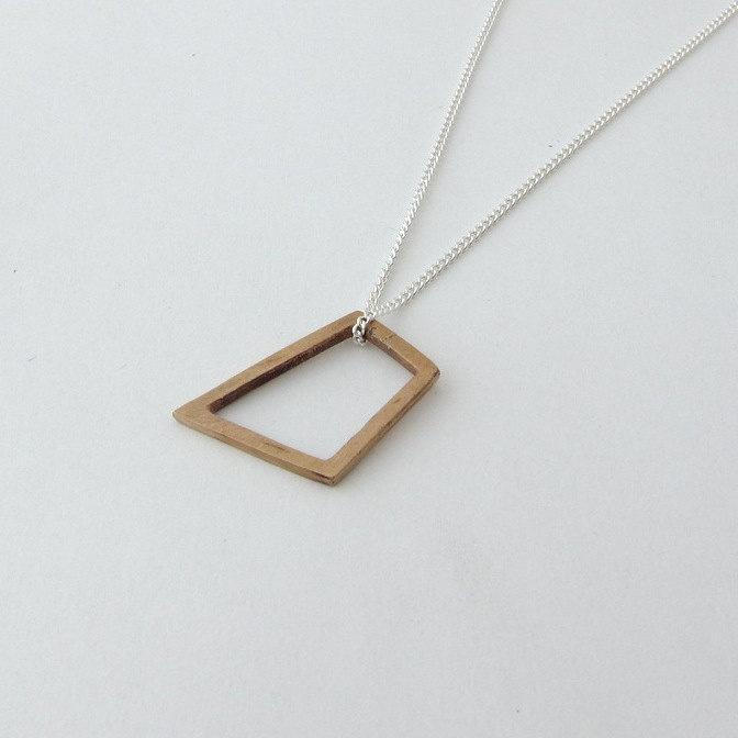 Bronze  Square Geometric Pendant. $31.00, via Etsy.
