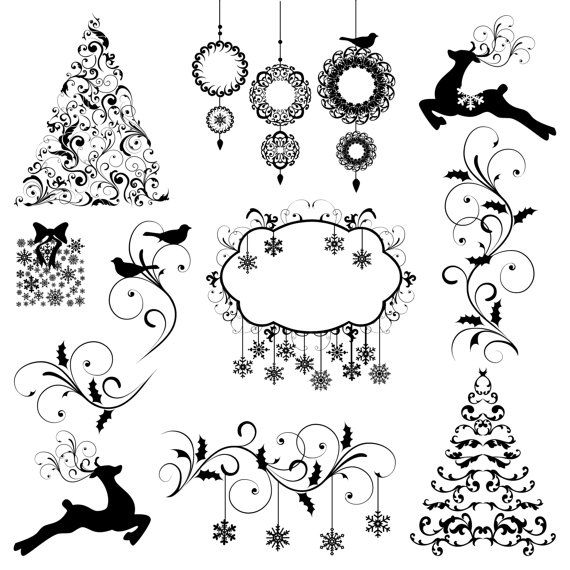 Christmas Clip Art Clipart Christmas Silhouettes by PinkPueblo