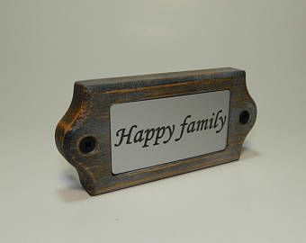Wooden Door Name Plate - HAPPY FAMILY - with engraved plastic
