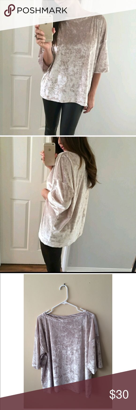 Velvet Slouchy Top Beautiful top! Only worn once. Purchased from a Poshmark boutique. Like new condition! Beige/cream color. Loose, slouchy fit. Super soft! Boat neck style. 93% polyester 7% spandex. ***PRICE FIRM. Tops Tees - Short Sleeve