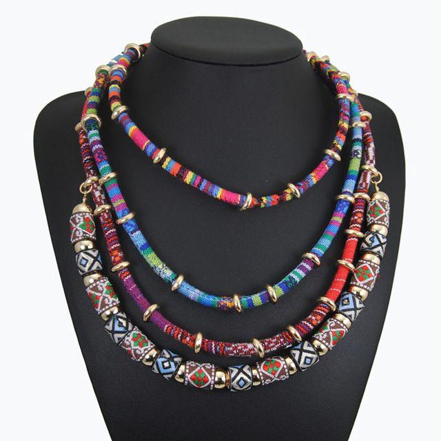 Collar 2016 collar de cadena multi capa maxi étnico cuerda declaración collar tribal boho bijoux collares grandes collares gruesos