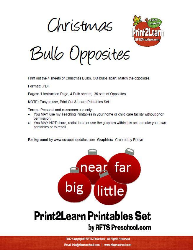 Opposites Preschool Christmas Cool early learning worksheets for kids.