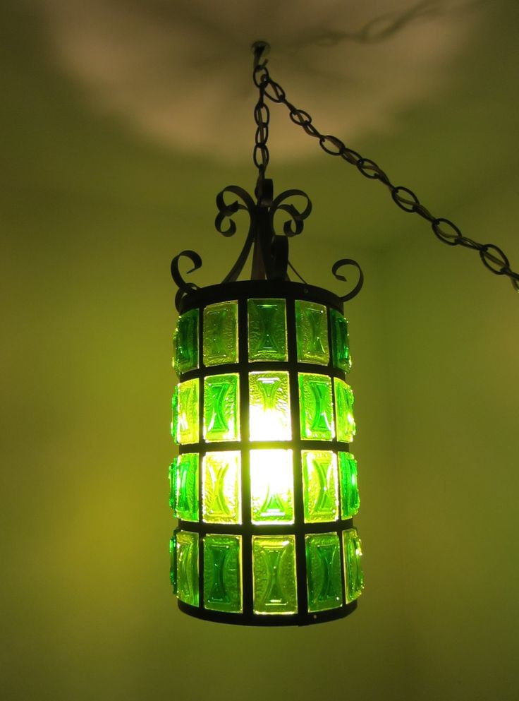 Art Deco Pendant Light Green Lucite Geometric Metal Hardware