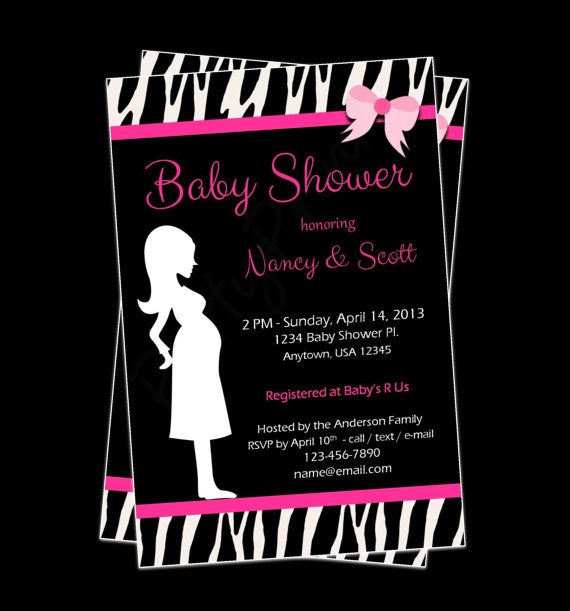 12 best pink zebra baby shower images on pinterest | pink zebra, Birthday invitations
