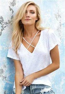 White Criss Cross Front Top