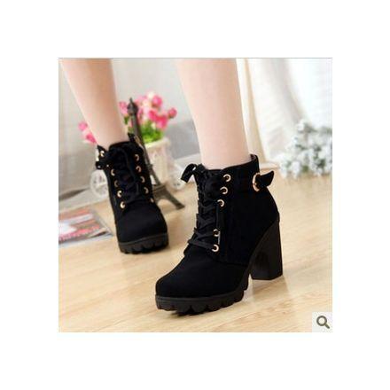 solos zapatos de la marca de moda nueva plataforma de tacón alto de las mujeres de la vendimia de la motocicleta botas Martin botas, tamaño 35-40-Army green