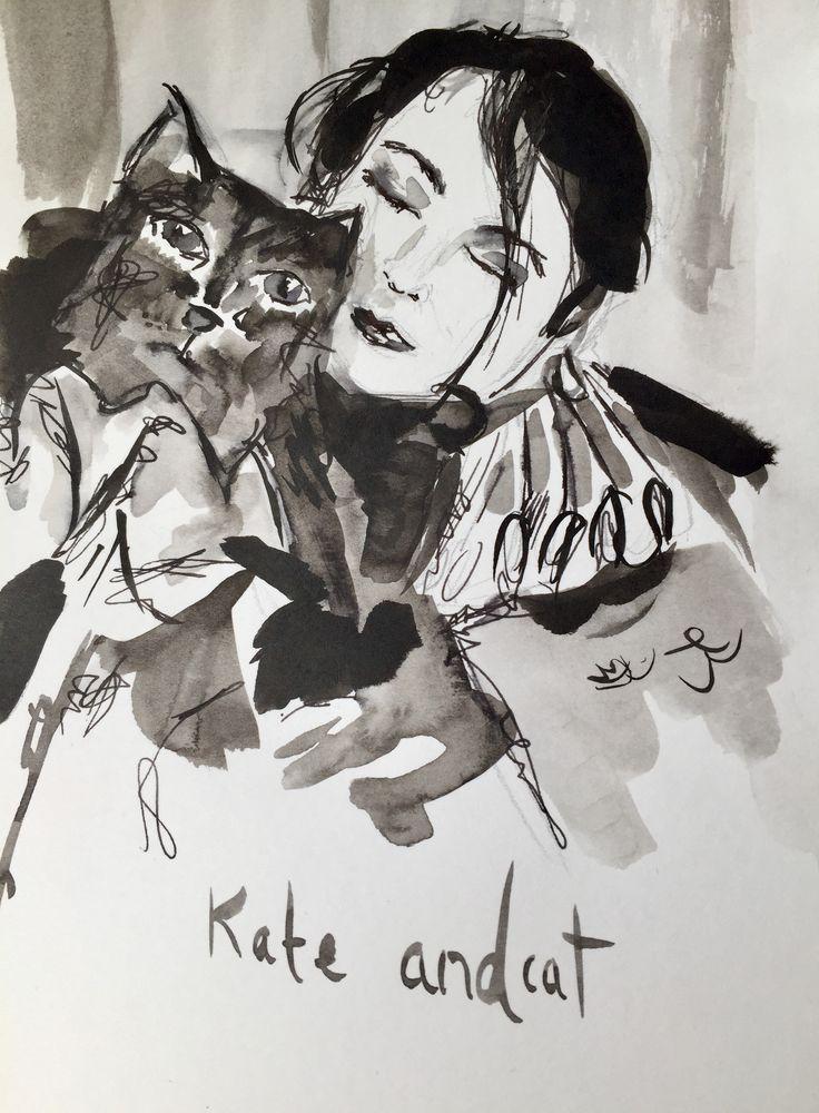 Kate Bush and Cat   #katebush #inspiration #homedecor #art #wallart #gifts #artgift #music #penandink #painting #etsyart #etsygifts #ink #inkdrawing #artist #theinkycreatures #pets