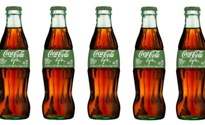 Coca-Cola Life – a reduced-calorie cola sweetened with cane sugar and stevia leaf extract – will arrive stateside the week of Aug. 25. At 60 calories per 8-oz. glass bottle, the newest member of the Coke trademark has 35 percent fewer calories than other leading colas.