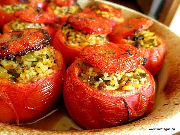 Stuffed Tomatoes With Rice & Herbs - Kalofagas - Greek Food & Beyond