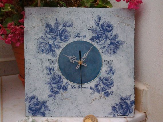 Wall clock Blue Roses  Cottage chic  Decoupaged home by Blowart, €33.00