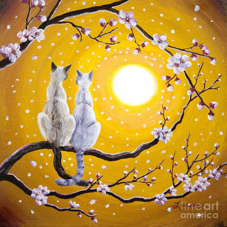 Siamese Cats Nestled In Golden Sakura Painting by Laura Iverson
