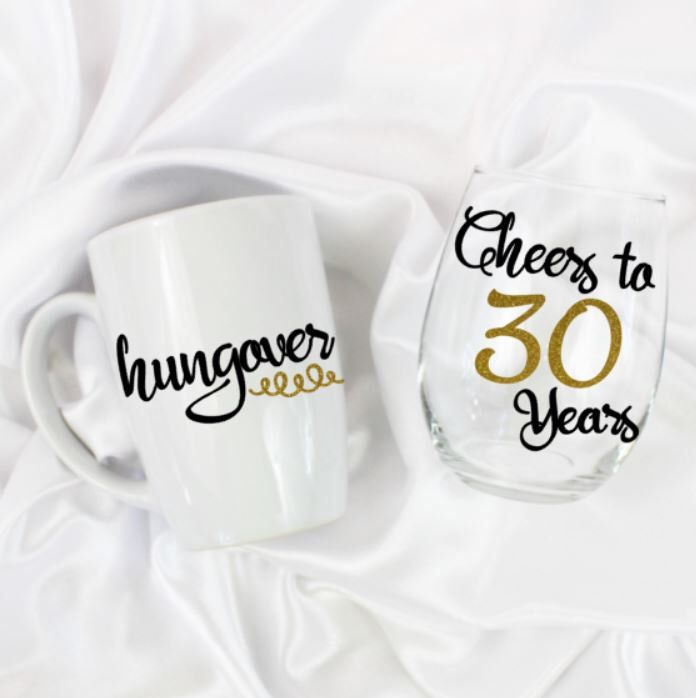 Unique birthday gift - Cheers to 30 years - 30th birthday - 30th birthday for her -  30th birthday gift for her - Hungover mug - set of 2 by ZoeyChristina on Etsy https://www.etsy.com/listing/469667583/unique-birthday-gift-cheers-to-30-years