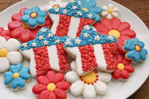 Patriotic Floral Star Platter: Blue Cookies, Stars Cookies, Patriots Floral, Cookies Decor, Decor Cookies, Floral Stars, Cookies How To, July Cookies, Cookies Platters