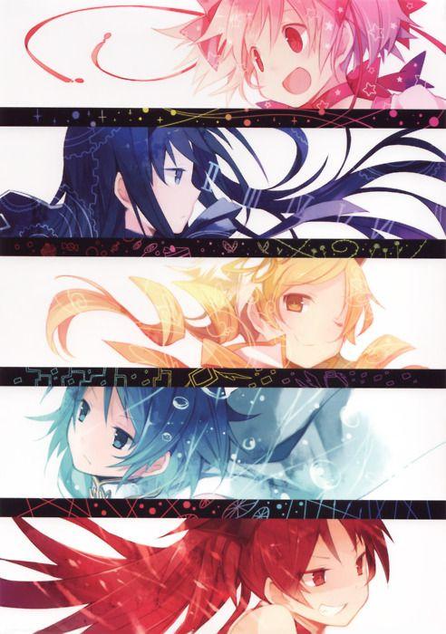 Madoka, Homura, Mami, Sayaka and Kyouko (Madoka Magica)