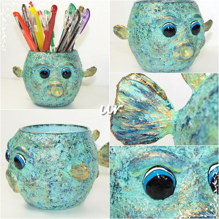 Fish pencil holder - glass, paper-mache paste, acrylic paint, varnish