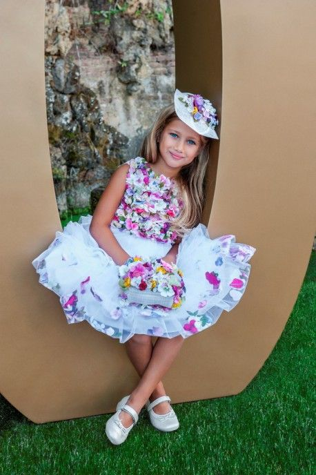 Luxury dress with multicolor flowers