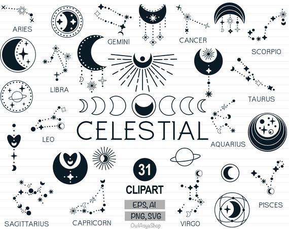 Celestial Clipart Moon Svg Zodiac Constellation Svg Bohemian Etsy In 2021 Clip Art Zodiac Constellations Constellations