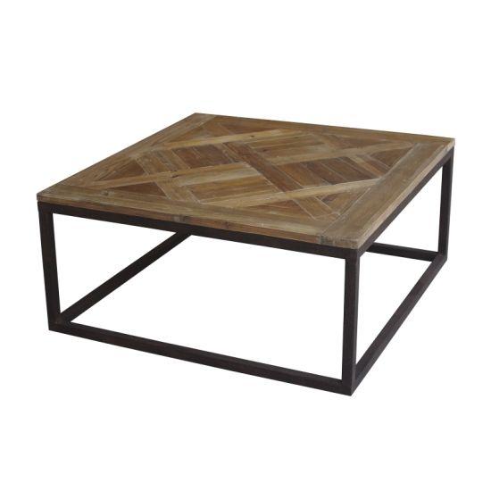 Arild soffbord furu med metallunderrede B 100 cm D100 cm | Soff