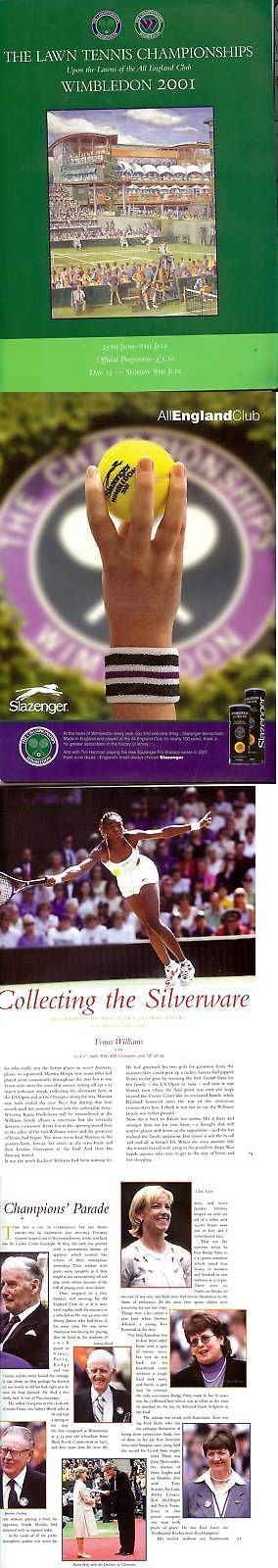 Tennis 430: 2001 Wimbleton Lawn Tennis Championships Program, Wimbledon Finals Order Of Play -> BUY IT NOW ONLY: $149.95 on eBay!