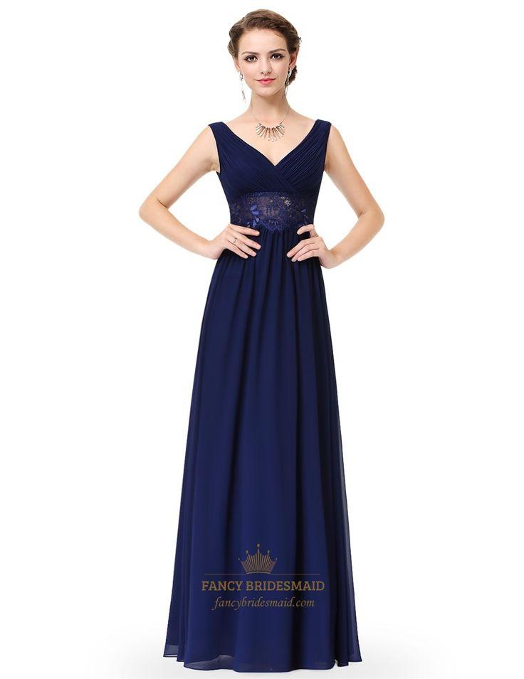 FancyBridesmaid.com Offers High Quality V Neck Sleeveless Lace Sheer Waist…
