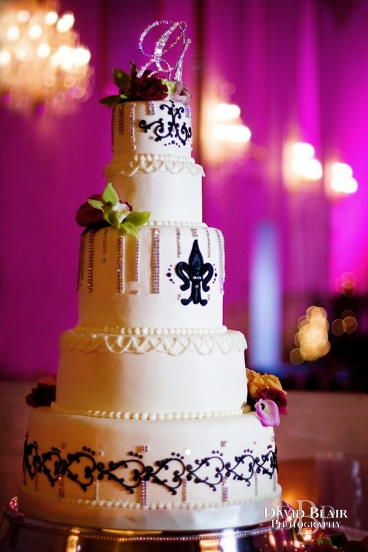 Tall Wedding Cake With Pink Up Lighting At The Grand In New Albany Indiana Photo By Louisville Photographer David Blairour Fabulous