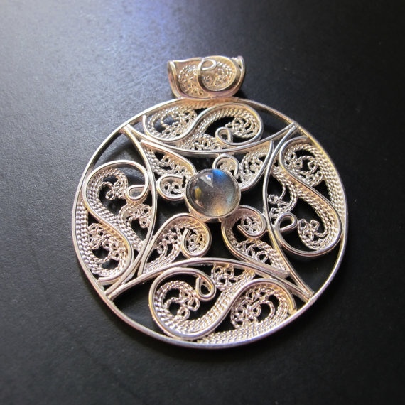 Handmade Solar Waltz Sterling Silver Filigree by Annabelsgifts,