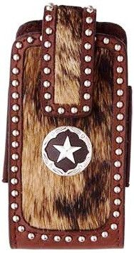 (3DB-PH313) Western Hair-On Cell Phone Holder with Star Concho
