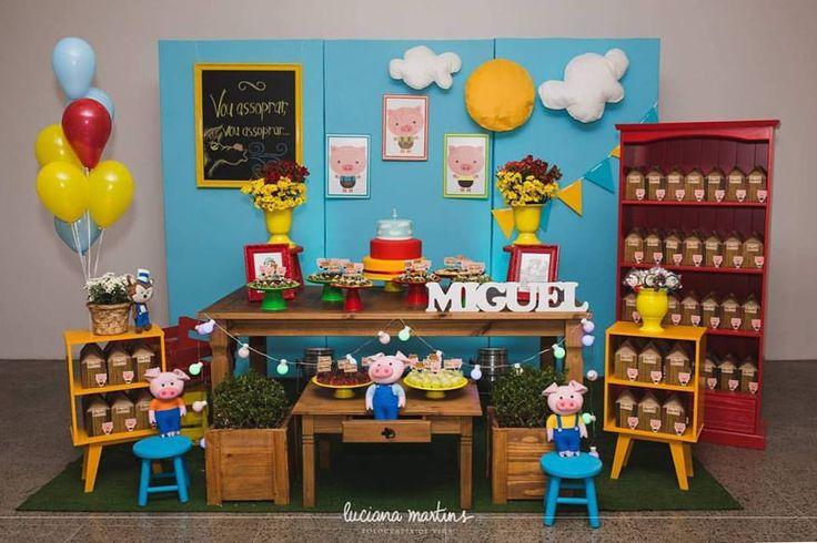 Decoração infantil tema Os Três Porquinhos / Decoration Party The Three Littlle Pig