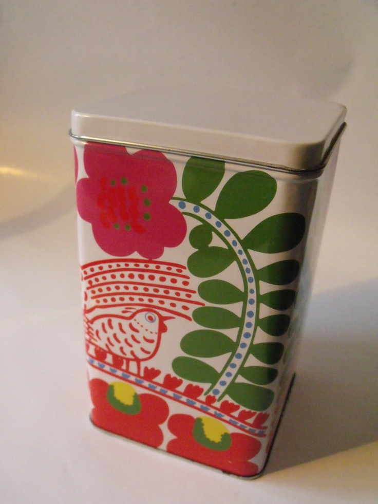 Marimekko Vintage Tin Canister Kuja, Fujiwo Ishimoto, via Etsy.