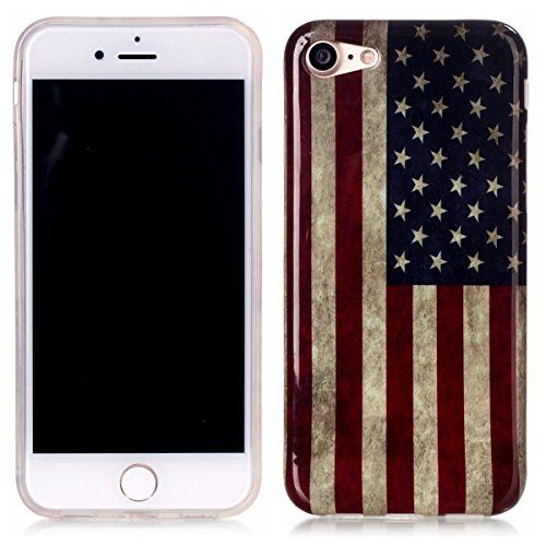 iPhone 7 Case,Gift_Source [Drop Protection] [Shock Absorbent] Premium Flexible Soft TPU Case Silicone Gel Slim Rubber Protection Case for Apple iPhone 7 [Vintage American Flag]