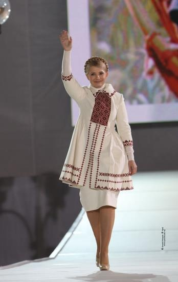 National motives in Ex-prime minister of Ukraine Yulia Timoshenko outfits , from Iryna with love