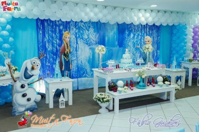 frozen themed birthday party with lots of cute ideas via kara 39 s party ideas full of decorating. Black Bedroom Furniture Sets. Home Design Ideas