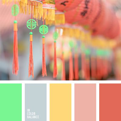 color palette #1248 A careful balance between coral and neon green