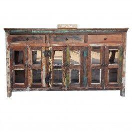 Reclaimed Wood Glass Door Sideboard Multi